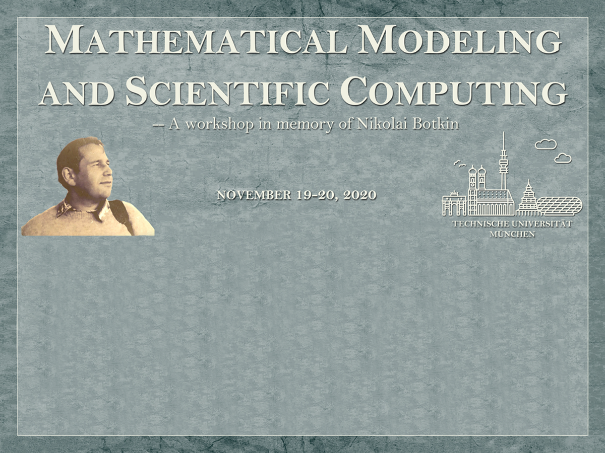 Flyer zum Workshop Mathematical Modeling and Scientific Computing im Gedenken an Dr. Nikolai Botkin