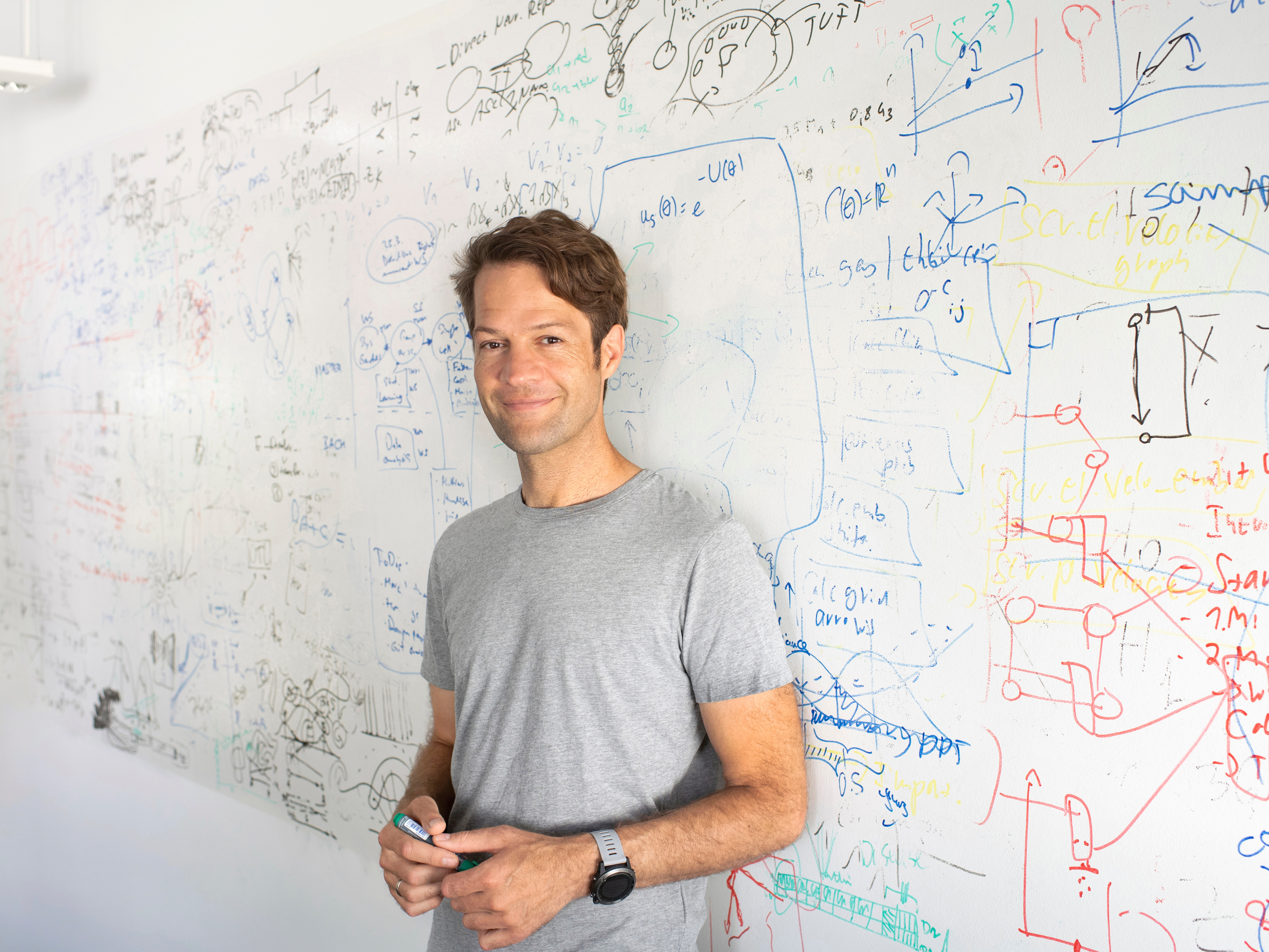 Professor Fabian Theis in front of a white board with sketches and mathematical formulas.