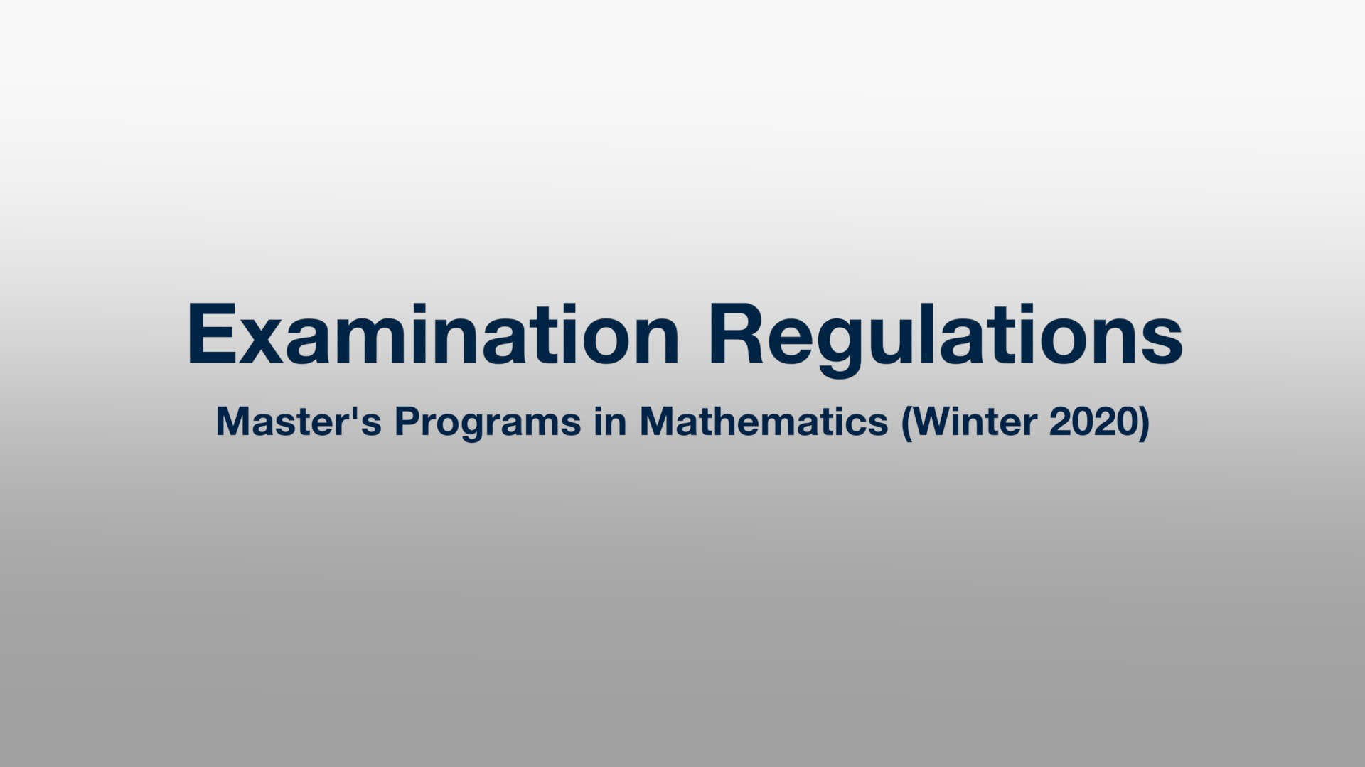 Introduction to Examination Regulations (Master's Programs)