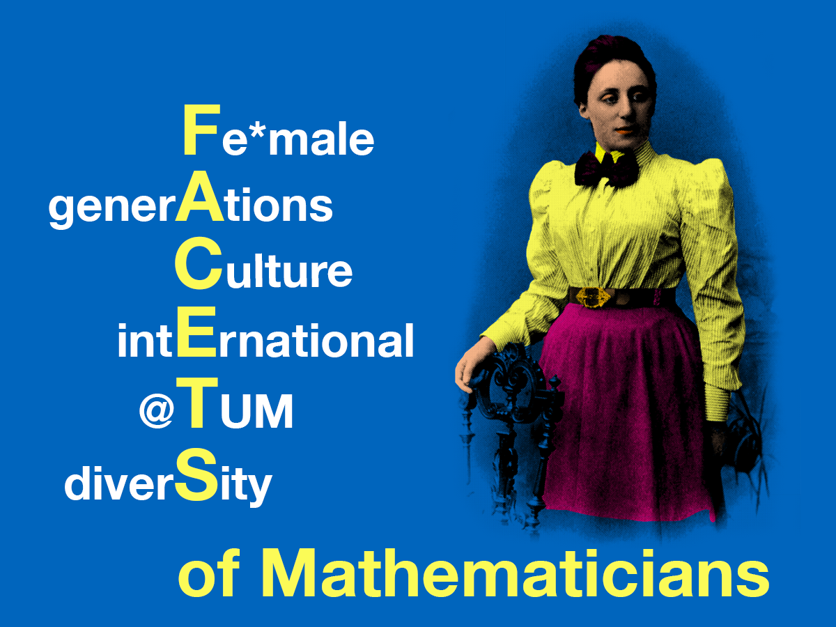 FACETS of Mathematicians - Logo und Pop-Art-Bild von Emmy Noether