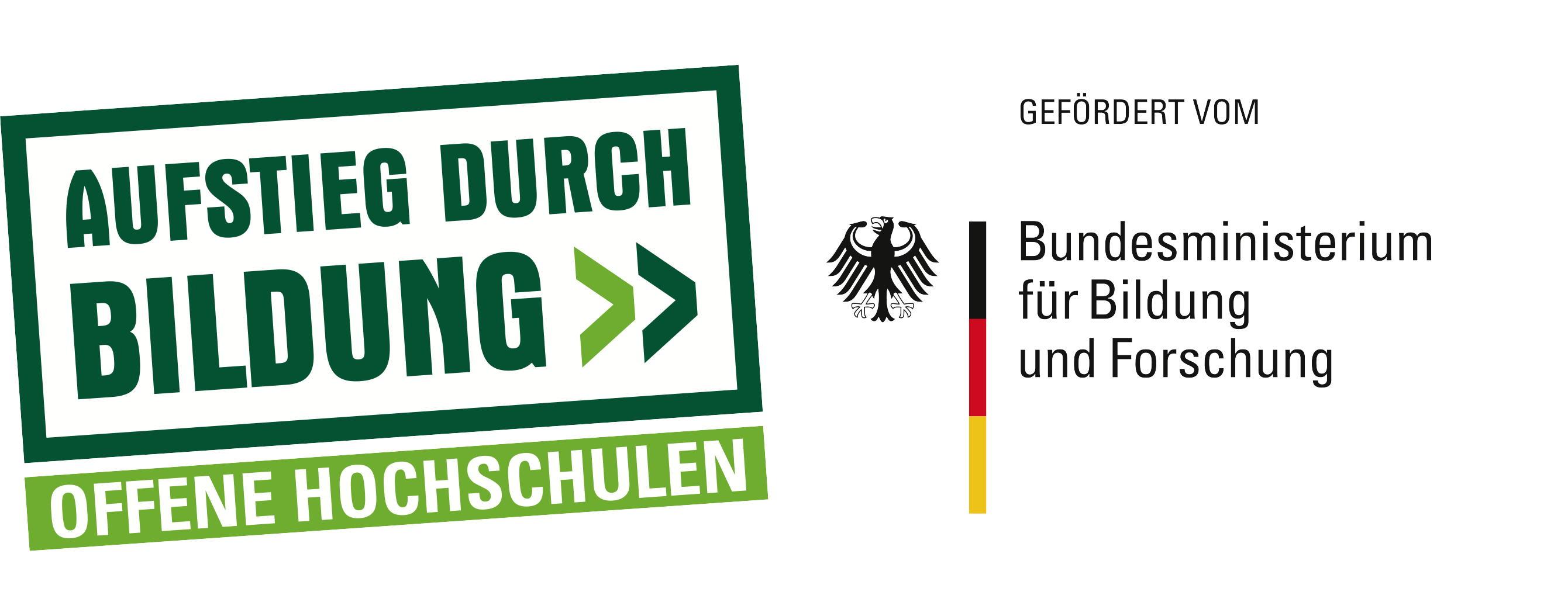 Logo: Aufstieg durch Bildung, offene Hochschulen, gefördert vom  Bundesministerium für Bildung und Forschung. Die TUM