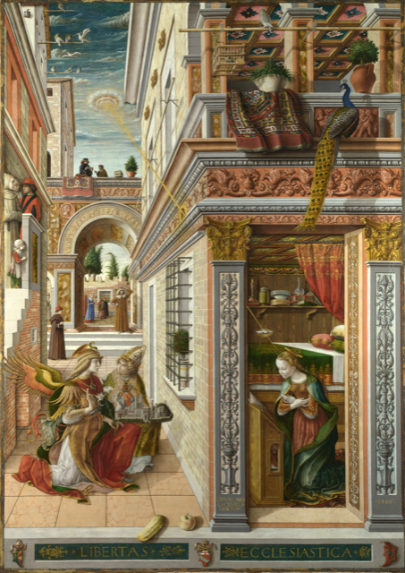 "Carlo Crivelli: ""Annunciation with St. Emidius"", 1486, London, National Gallery"
