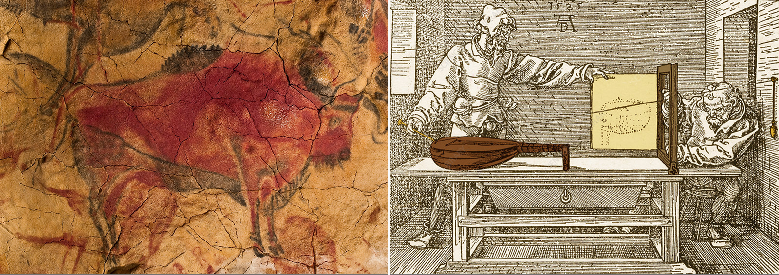 "left: Cave painting of a bison, Altamira, 16,500 to 13,000 B.C.: Colors and shading create perspective; right: Albrecht Dürer: ""The Draftsman of the Lute,"" 1525, woodcut of a construction arrangement for drawing perspective"